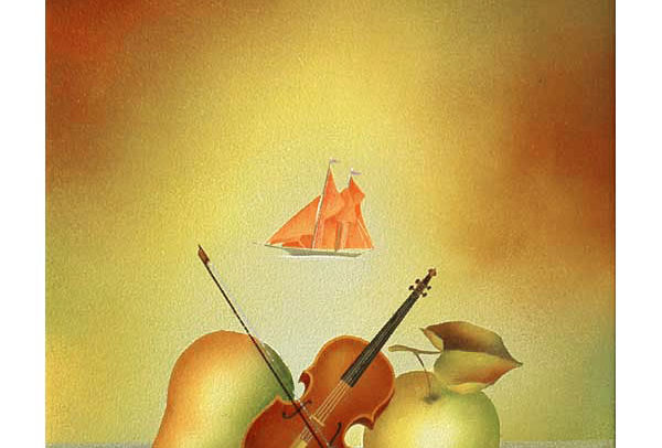 Still Life with Violin & Sailboat