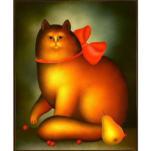 Red Cat with Pink Bow
