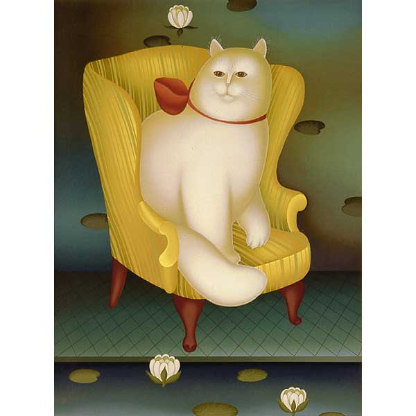 White Cat in Wing Chair