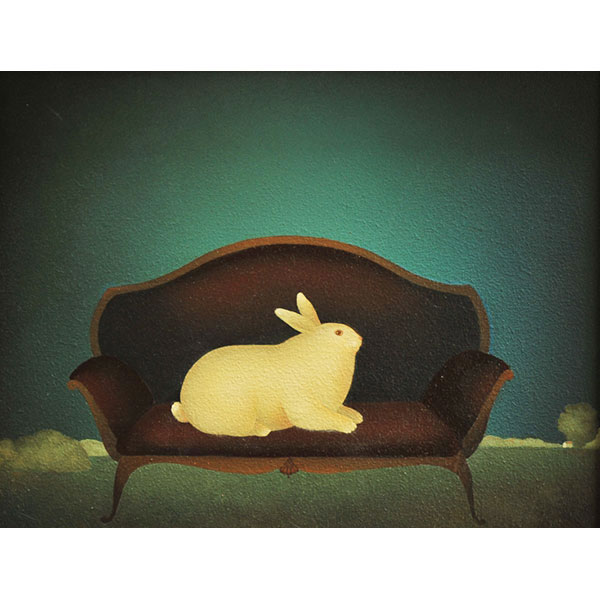 Rabbit on Blue Couch